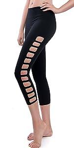 68806aed80d0ff Women's Elastic Side Ripped Yoga Capri Leggings · Women's Stretchy Basic Yoga  Capris Leggings Pants · Women's Elastic Side Ripped Yoga Capri Leggings ...