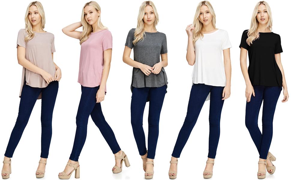34dbd42b0ec TAM WARE Women s Stylish Short Sleeve French Terry Tunic Top (Made ...