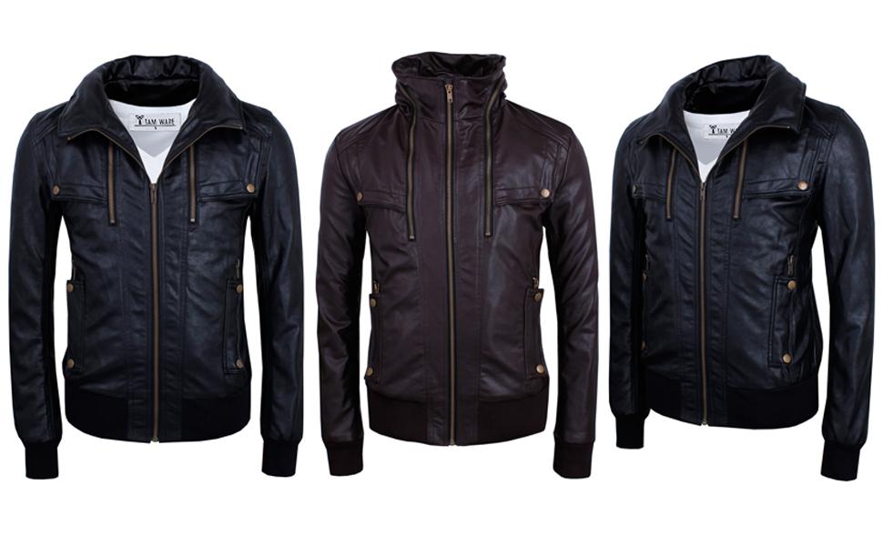 Tam Ware Mens Stylish Hidden Hoodie Zip Up Pu Leather Bomber Jacket
