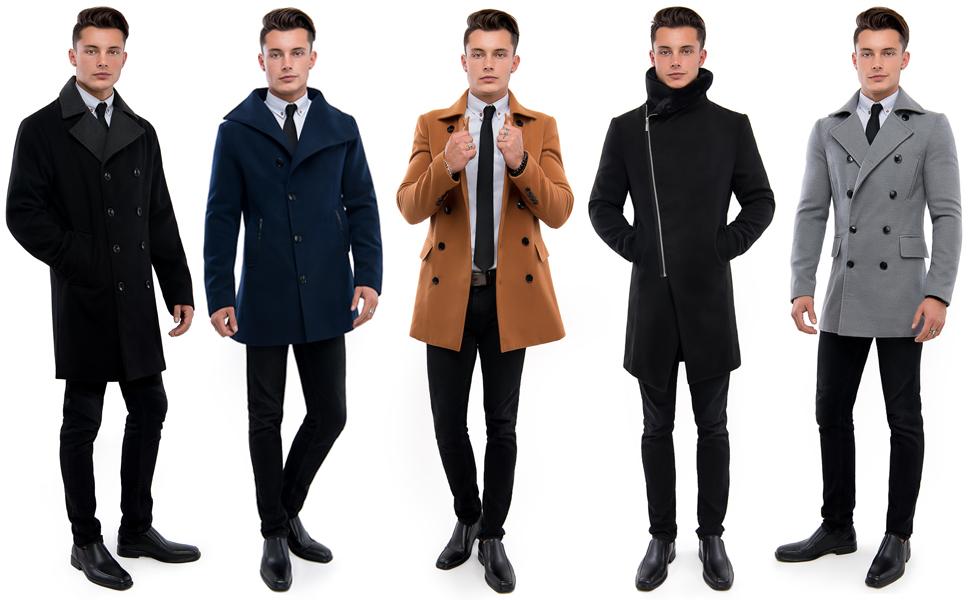 TAM WARE Men's Stylish Wool Blend Pea Coat at Amazon Men's Clothing store