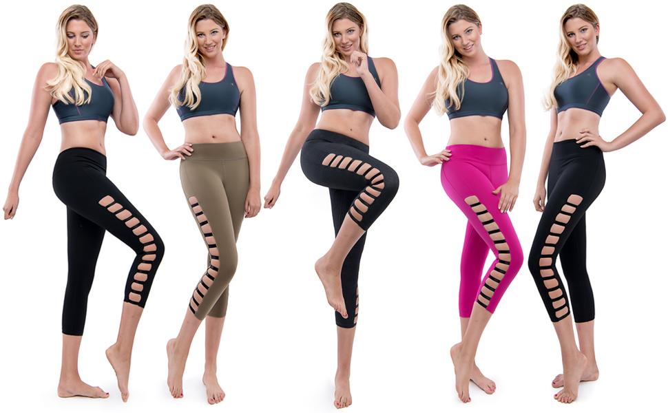 a1e69441ee08f8 Amazon.com: TAM WARE Women's Elastic Side Ripped Yoga Capri Leggings ...