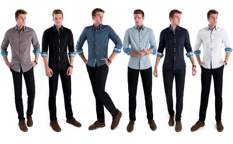 be12a827c85 TAM WARE Mens Trendy Slim Fit Inner Checkered Button Down Shirt at ...