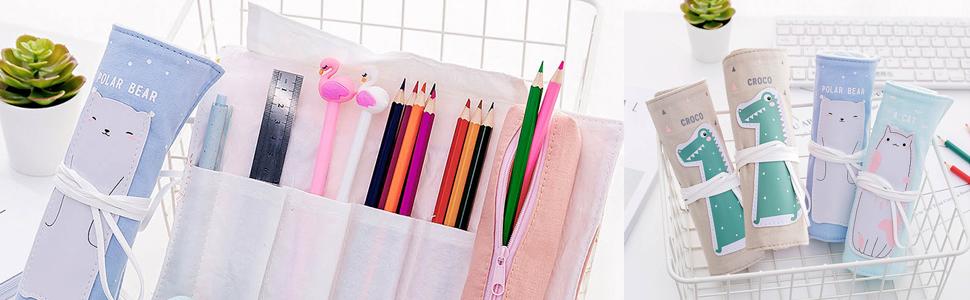 Amazon.com: iSuperb - Estuche enrollable de lino y algodón ...