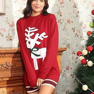 b5239e1f89 Aibrou Womens Christmas Sweater Dress Reindeer Knitted Sweater ...