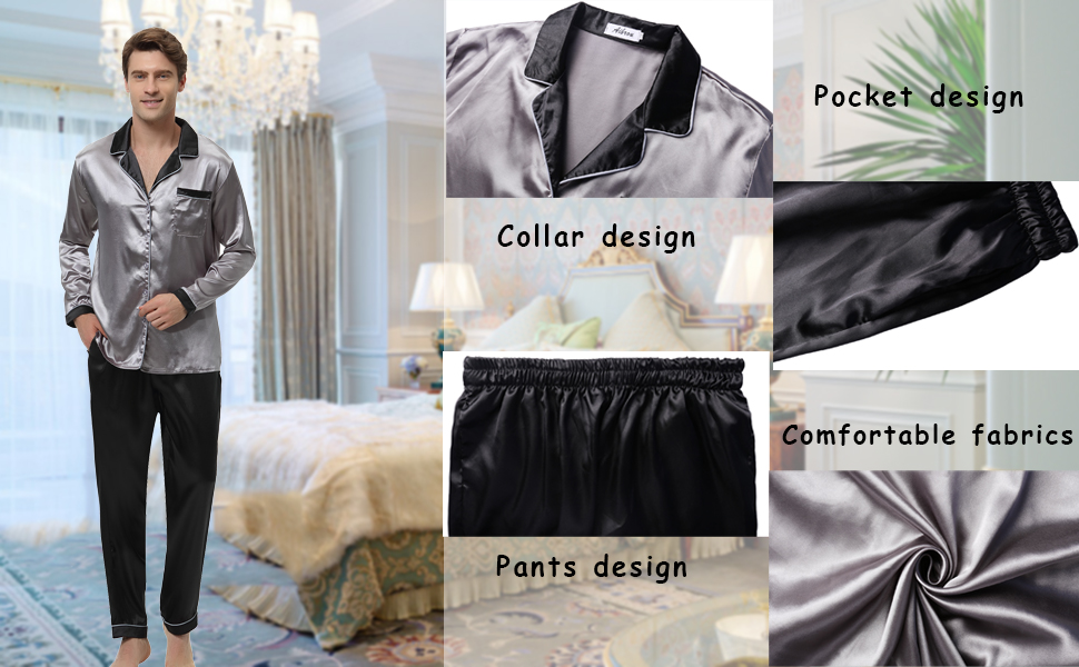 Aibrou Mens Silk Satin Pajama Set Luxury Sleepwear Long Sleeve Boxer ... ac6f21922
