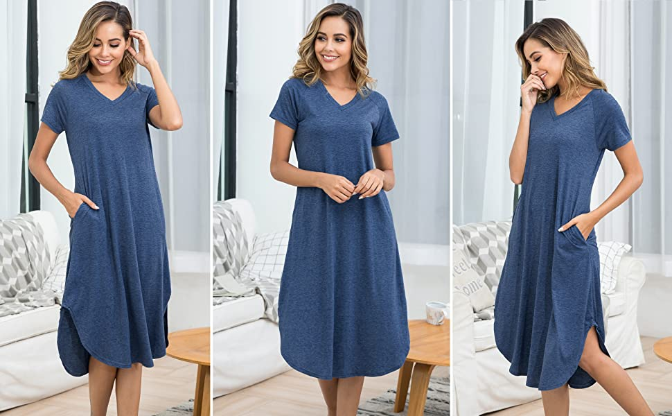 Aibrou Women's Cotton V Neck Long Nightshirt Short Sleeve Nightgown S-XXL