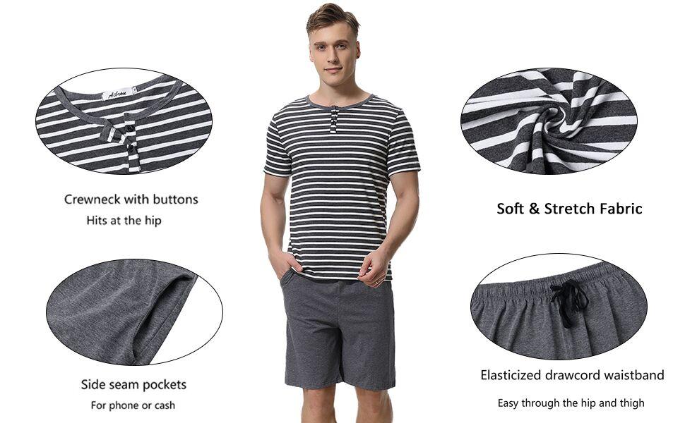 Aibrou Men's Summer Sleepwear Short Sleeve Striped Cotton Shorts and Top Pajama Set