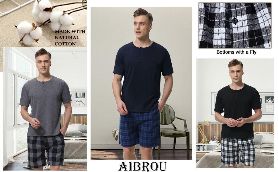 Aibrou Men's Cotton Pajamas Set Short Sleeve Shorts & Shirt Sleepwear Lounge Set