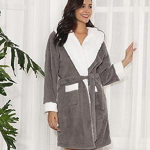 Aibrou Women s Plush Hooded Bathrobe Soft Warm Fleece Fun Robe Sleepwear w  Pockets d825c7e42
