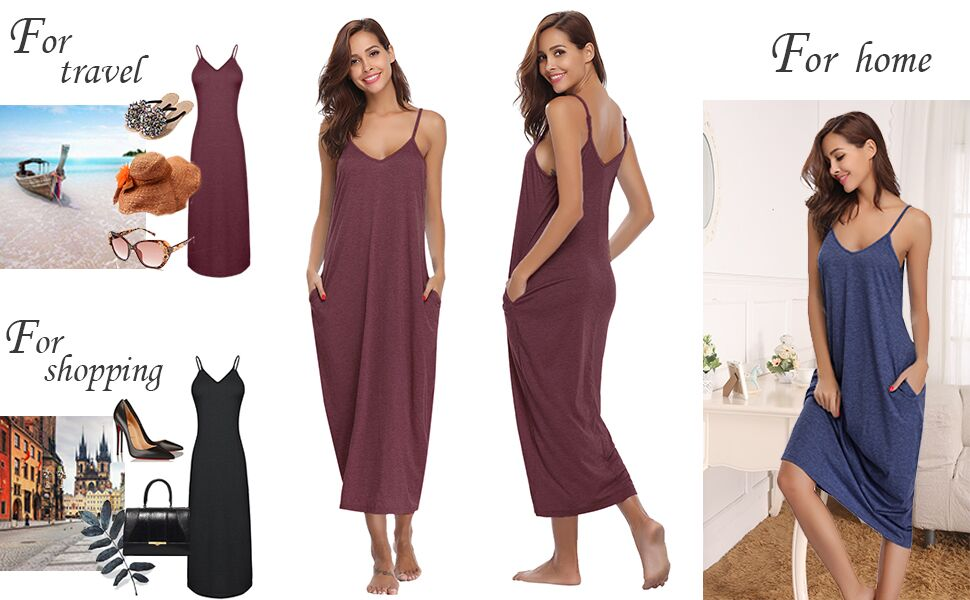Cotton Spaghetti Strap Chemises Slip Nightgown Long Nightgown