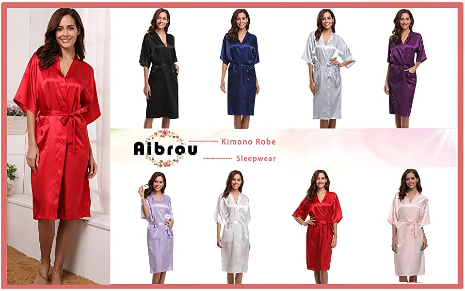 Aibrou Women\'s Kimono Robe Dressing Gown Long Classic Satin Wedding ...