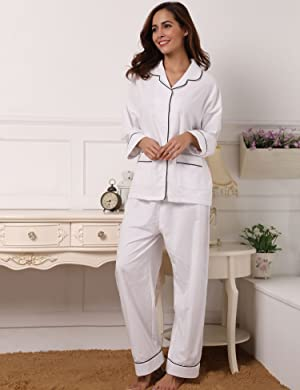 2ae49829113d Aibrou 100% Cotton Womens Pajamas Set Long Sleeves with Pants ...