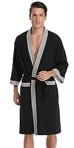 Mens waffel bathrobe lightweight