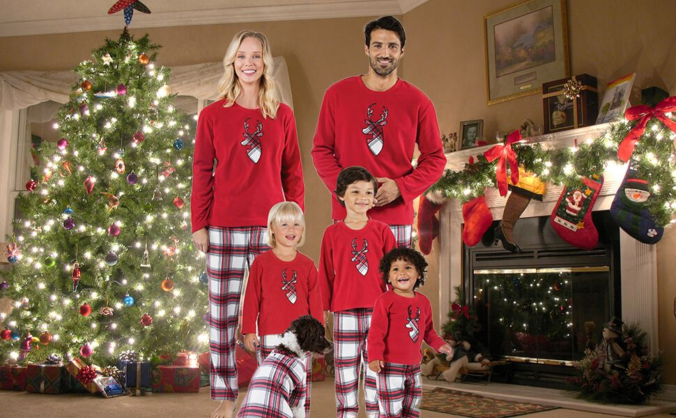 Amazon.com: Aibrou Family Christmas Pajamas Set Cotton Reindeer ...