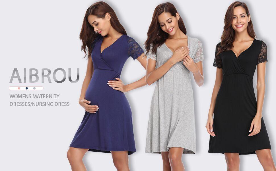 Aibrou Womens Maternity Dresses/Baby Shower Dress/Pregnancy ...