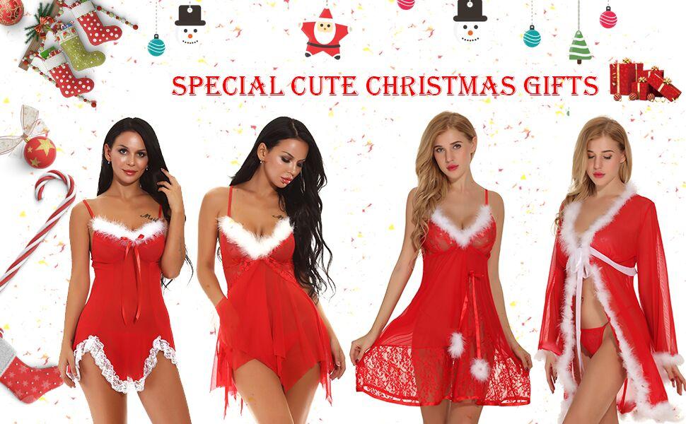 Womens Christmas Lingerie Red Babydolls Santa Dress Lace Teddy Chemise Set