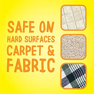 Safe on hard surfaces carpet and fabric