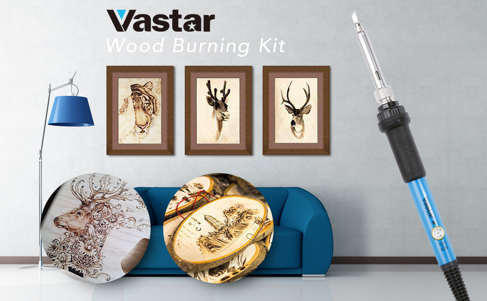 Vastar 44pcs Wood Burning Kit Creative Woodburner Temperature Adjustable with