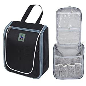 thanks to the top quality waterproof polyester oxford the hanging toiletry bag offers strength and a wipeclean surface that withstands steamy bathrooms