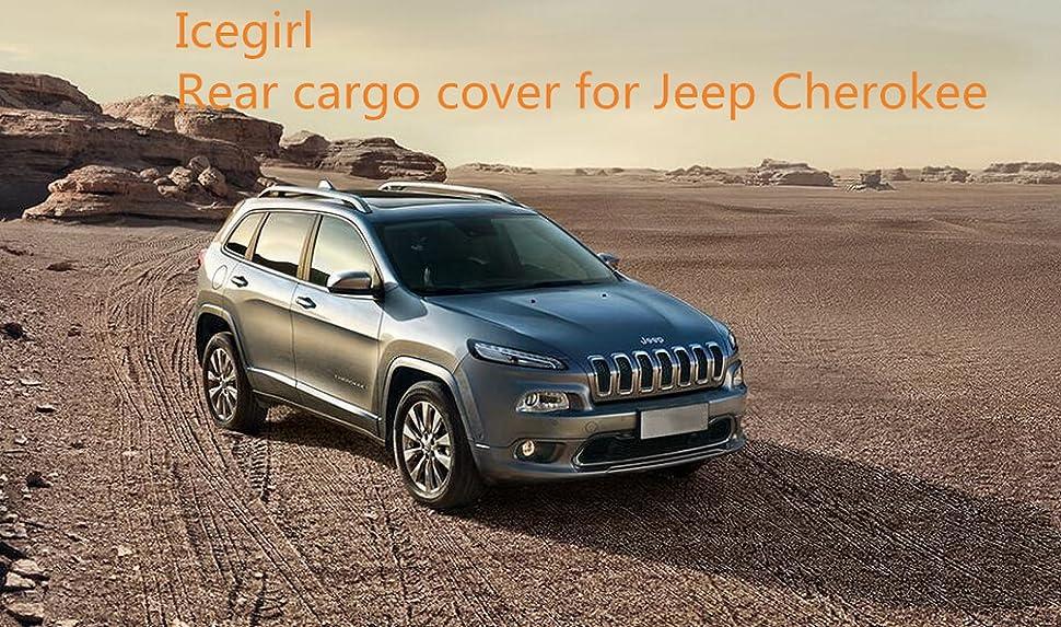 icegirl black interior rear trunk cargo cover security shield for jeep cherokee 2014. Black Bedroom Furniture Sets. Home Design Ideas