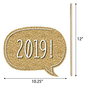 92127ca79e45 New Years Eve Party - Gold - Photo Booth Props Kit - Big Dot Of Happiness