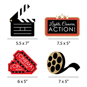 RED CARPET HOLLYWOOD - CLAPBOARD, MOVIE TICKETS AND FILM REEL DECOR DIY MOVIE NIGHT PARTY ESSENTIALS
