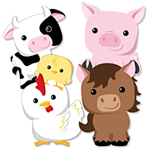 picture relating to Free Printable Farm Animal Cutouts known as Farm Pets - Cow, Horse, Pig and Fowl Decorations Do-it-yourself Little one Shower or Birthday Occasion Fundamentals - Fixed of 20