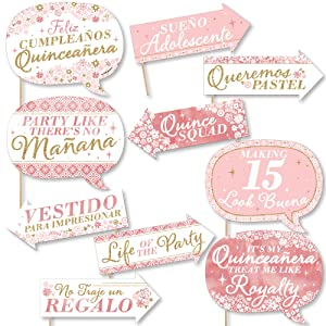 Funny Mis Quince Anos - Quinceanera Sweet 15 Birthday Party Photo Booth Props Kit - 10 Piece