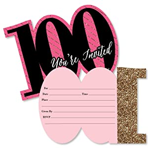 amazon com chic 100th birthday pink black and gold shaped fill