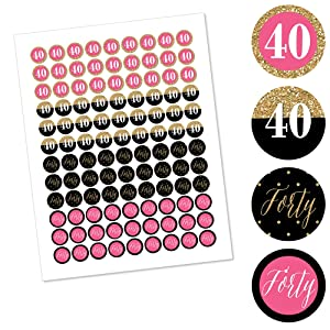 Labels Fit Hershey/'s Kisses Round Candy Sticker Favors Chic 40th Birthday Pink 1 Sheet of 108 Black and Gold