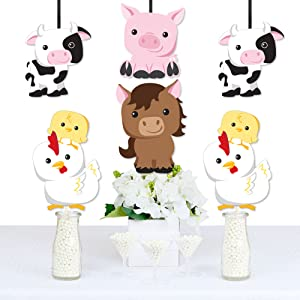 Amazon Com Farm Animals Cow Horse Pig And Chicken Decorations