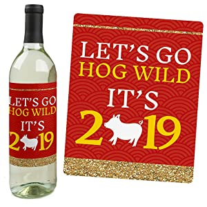 chinese new year wine bottle labels 2019 year of the pig party big dot