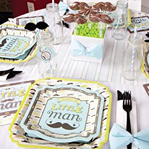 Dashing Little Man dessert plates are 8-inch x 8-inch square printed on sturdy coated paper.  sc 1 st  Amazon.com & Amazon.com: Dashing Little Man Mustache - Baby Shower or Birthday ...