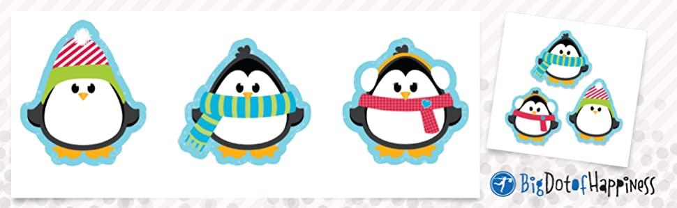 PK 3 HOLLY PENGUIN DIE CUTS FOR CARDS//CRAFTS