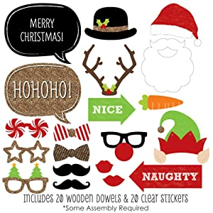Amazon christmas party photo booth props kit 20 count toys christmas photo booth prop kits are printed on sturdy card stock paper and include wooden dowels and adhesives for quick assembly solutioingenieria Images