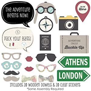 World Awaits Travel Photo Booth Props Kit 20 Count Decorations