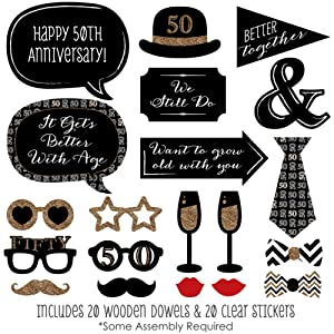 Amazon 50th anniversary photo booth props kit 20 count 50th wedding anniversary photo booth prop kits are printed on sturdy card stock paper and include wooden dowels and adhesives for quick assembly solutioingenieria Image collections