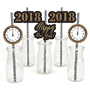 Amazon.com: New Year's Eve   Gold Paper Straw Decor   2018 New