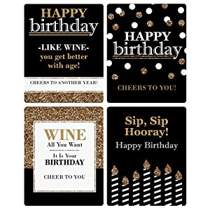 Adult Happy Birthday wine bottle labels come in a set of four coordinating  designs. Use them together on four of your favorite bottles of wine or gift  them ...