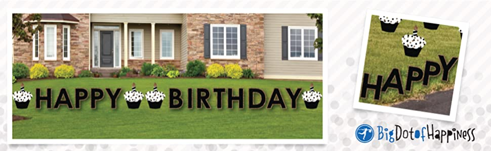 Printed On Waterproof Weather Resistant Corrugated Plastic Gold Happy Birthday Yard Decorations