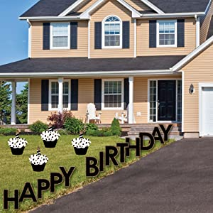 Each Happy Birthday Lawn Sign Set Includes Two Metal Stakes Per Cutout They Easily Insert Into The Letter And Shaped Cutouts Then Ground For