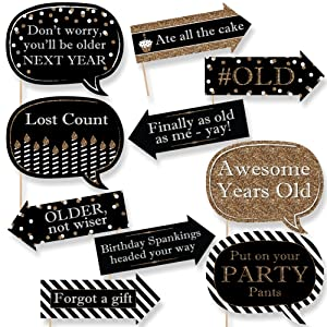 Amazon funny adult happy birthday gold birthday party photo tell everyone you are celebrating a special birthday with a funny happy birthday photo prop kit this gold and black photo kit includes 10 fun props with voltagebd Image collections