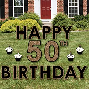Gold Happy 50th Birthday Yard Decorations Are Printed On Durable Plastic With A Weather Resistant Ink So They Perfect For Outdoor Use