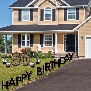 Amazoncom Big Dot of Happiness Adult 50th Birthday Gold Yard