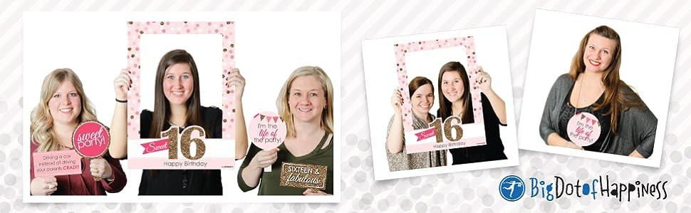 Amazon.com: Big Dot of Happiness Sweet 16 - Birthday Party Selfie ...