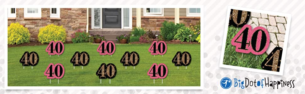 Chic 40th Birthday Lawn Decorations Are Reusable