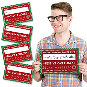 94e93bf019ea63 Amazon.com: Big Dot of Happiness Ugly Sweater - Party Mug Shots ...