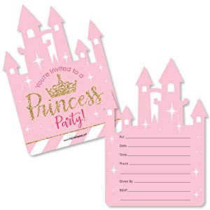Amazon little princess crown shaped fill in invitations little princess crown party invitations set of 12 filmwisefo