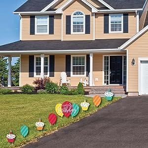 Colorful Happy Birthday - Cupcake amp; Balloon Yard Sign amp; Outdoor Lawn Decor - Birthday Yard Signs