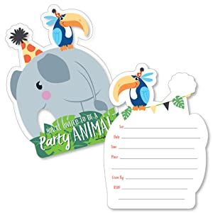 amazon com jungle party animals shaped fill in invitations
